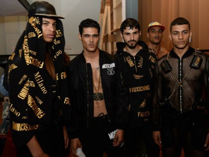 Backstage at Moschino Uomo Spring/Summer 2015